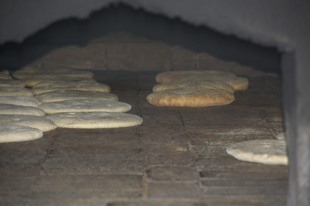 Bread Baking in open oven