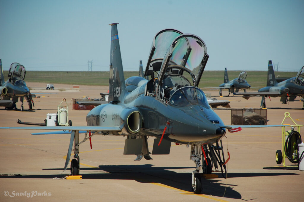 """T-38. The reds tags hanging on the plane say """"Remove before flight"""" and are pulled as part of the preflight walk around."""
