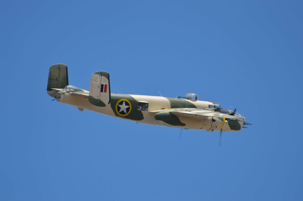 """North American B-25 """"Mitchell"""" bomber. A medium bomber named in honor of Genral Billy Mitchell and used in the 1942 Doolittle Raid."""