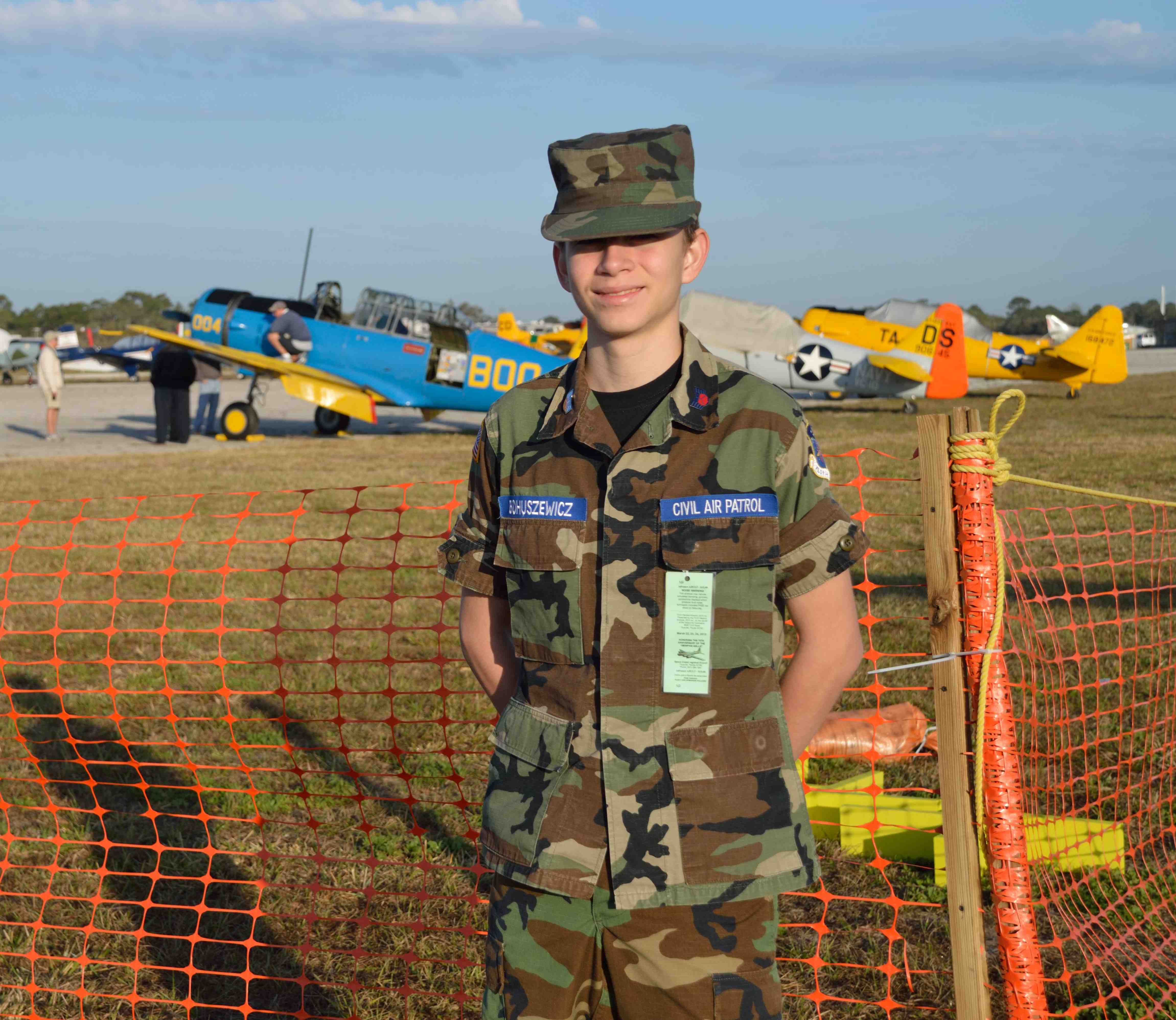 Silvio Bohuszewicz, TICO squadron, securing the VIP and flight line area.