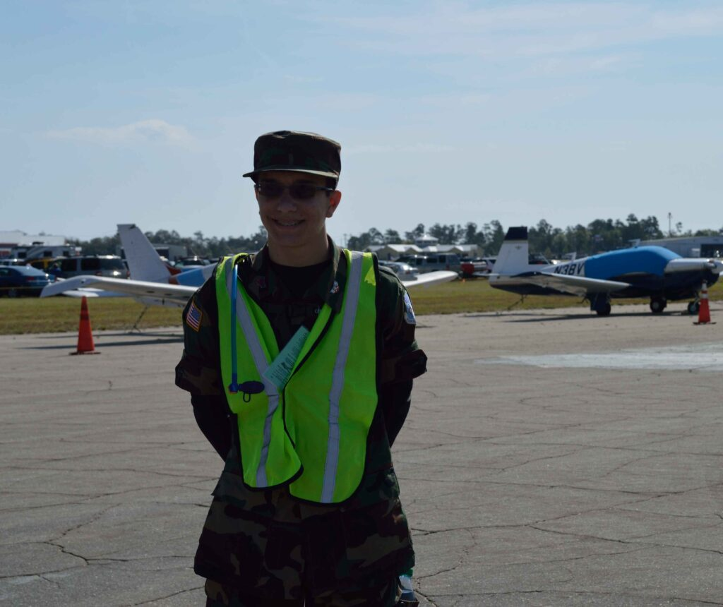 Cole Frank, Orlando Squadron, working the VIP parking area.