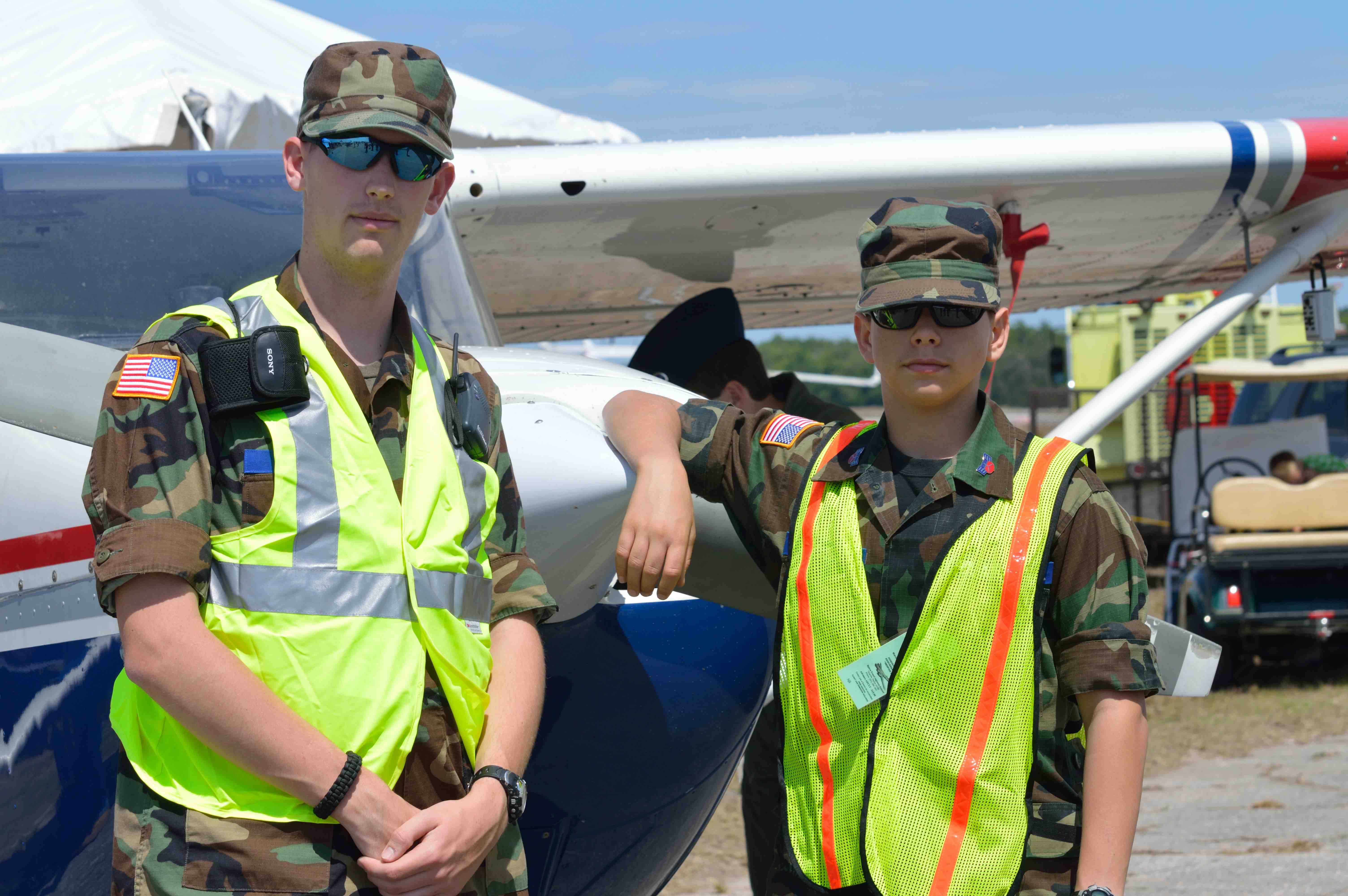 Ian Spirduso, Central Florida Squadron, and Andrew Briggs, Palm Bay squadron, worked at Gate 1.