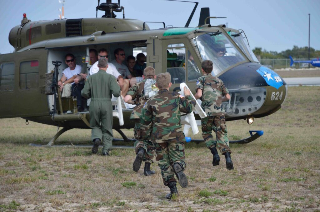 """CAP assisting the """"Sky Soldiers, Army Aviation Heritage Foundation as they gave rides on the UH-1H Iroquiois """"Huey"""", an Army aviation troop transport."""