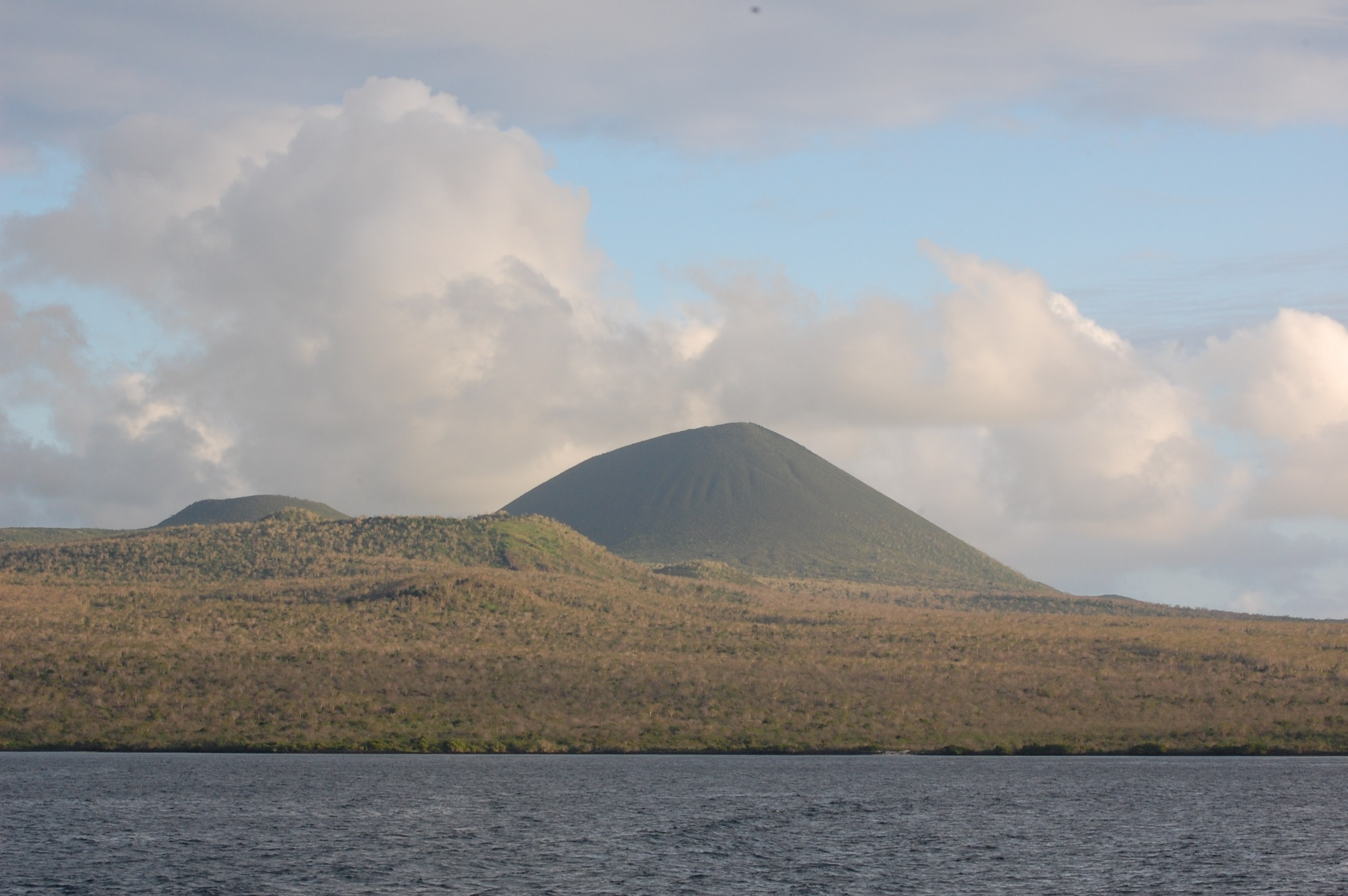 A nice little cinder cone peaking up from the island.