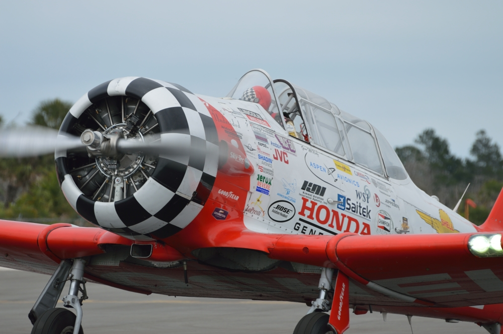 One of the AeroShell T-6 Texans from team of Brian Reagan and Gene McNeely..
