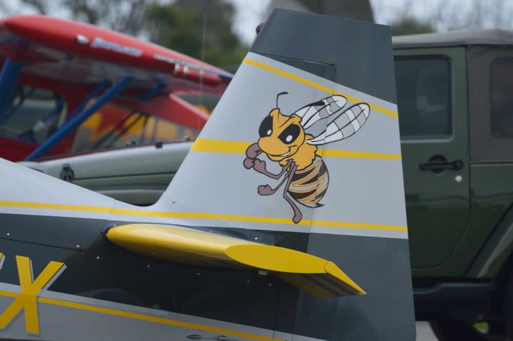 With family members from Georgia Tech famous for its Yellow Jackets mascot, I had to take a close look at the killer bee tail art on Keith Lickteig's 2005 Extra 300/L.
