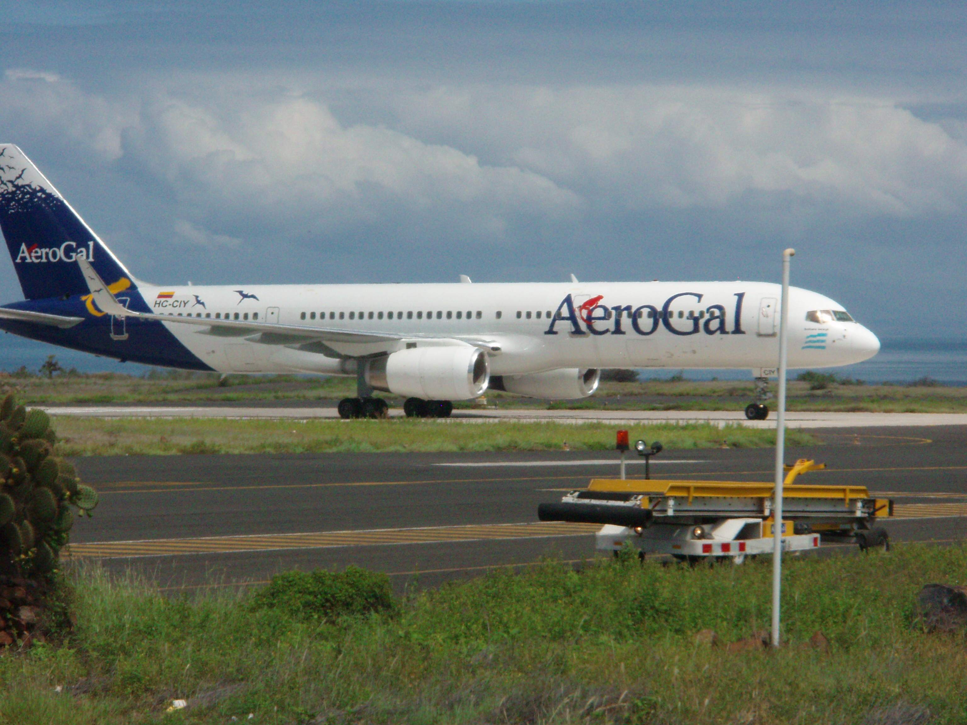 AeroGal Airliner taxiing in after landing on the Galapagos Islands.