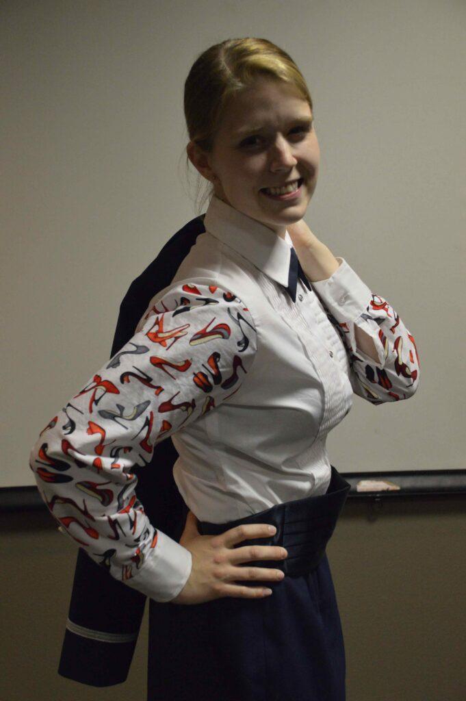 """Mess Dress shirt with """"women's shoe"""" motiff."""