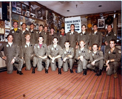 Test Pilot Class 83A in Pancho Barnes Room, Edwards AFB, California