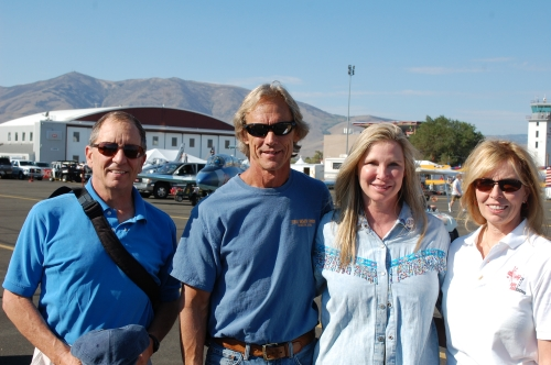 Airplane Repo star Mike Kennedy and wife (center), Sandy (rt), Test pilot hubby Scott on left.