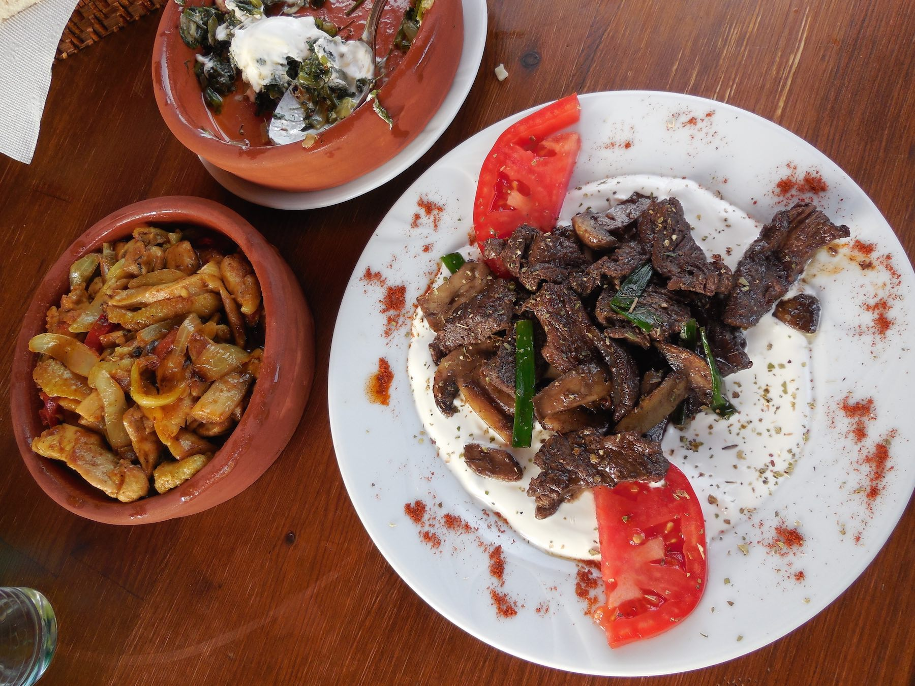 Kirkinca Kabobi (marinated beef) and chicken curry