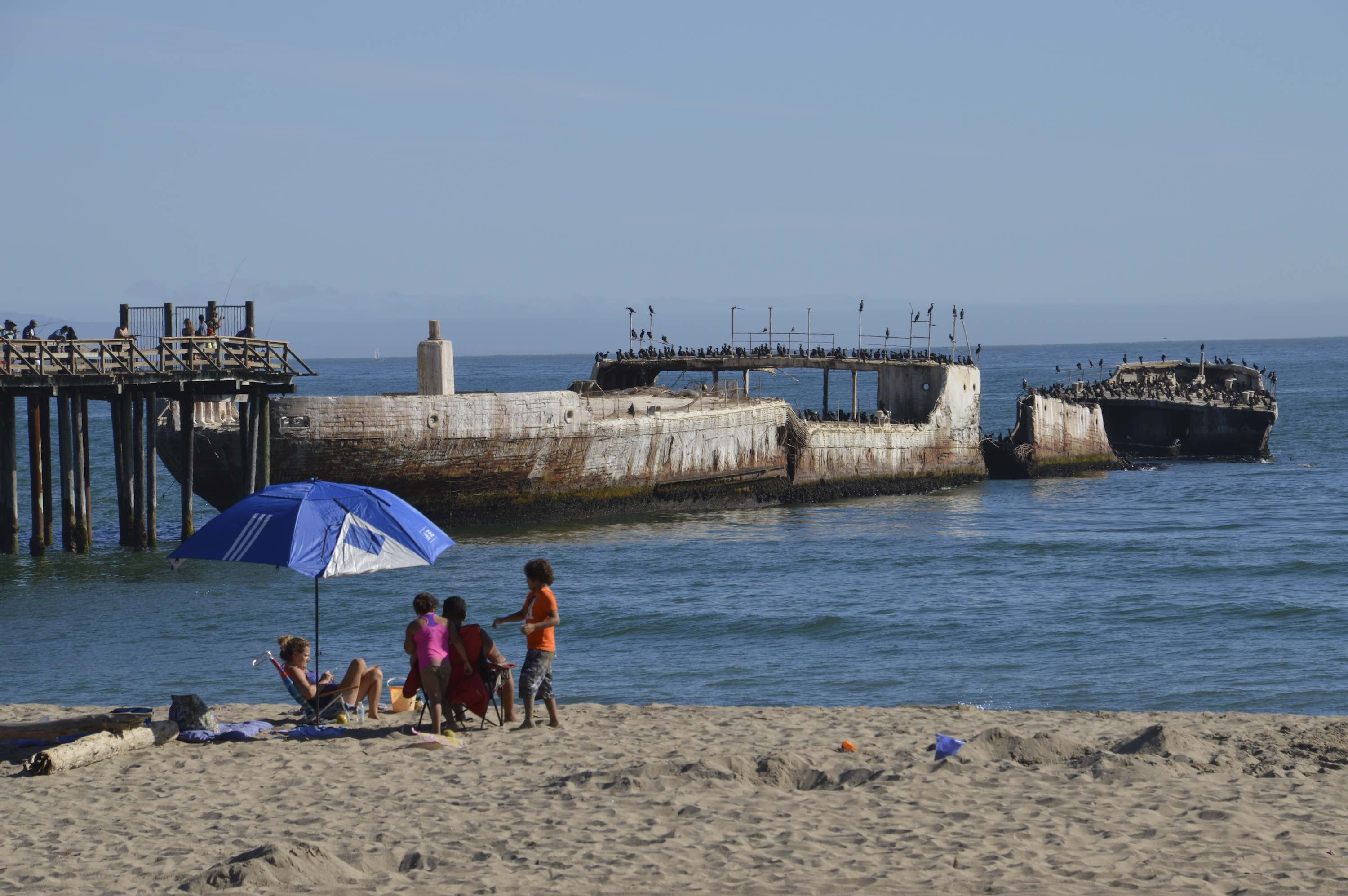 The scuttled S.S. Palo Alto at Seacliff State Beach